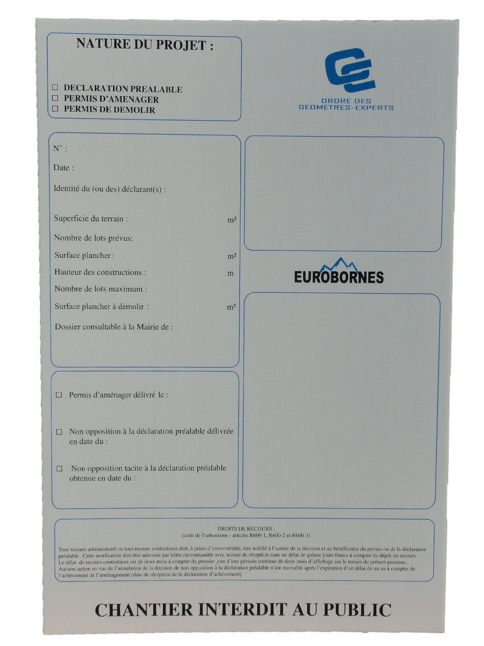 Panneau declaration prealable fabricant de bornes et rep res - Panneau affichage declaration prealable ...